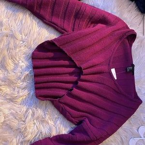 plum cropped sweater